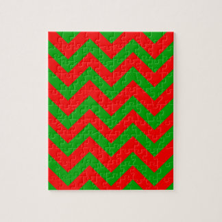 Dark Green And Red Chevron Jigsaw Puzzle