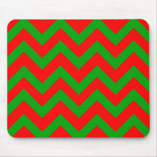 Dark Green And Red Chevron Mouse Pad