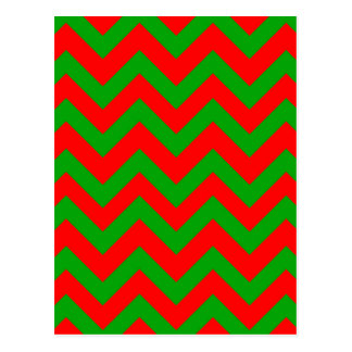 Dark Green And Red Chevron Postcard