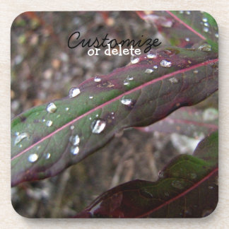 Dark Green and Red Leaves; Customizable Beverage Coaster