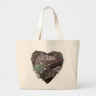 Dark Green and Red Leaves; Customizable Large Tote Bag