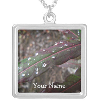 Dark Green and Red Leaves; Customizable Square Pendant Necklace