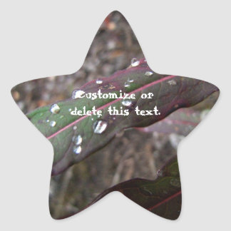 Dark Green and Red Leaves; Customizable Sticker
