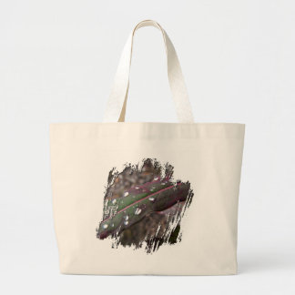 Dark Green and Red Leaves Large Tote Bag