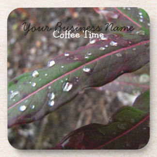 Dark Green and Red Leaves; Promotional Beverage Coaster