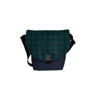 Dark Green and Royal Blue Duncan Clan Tartan Courier Bag