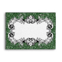 Dark Green and White A7 Gothic Baroque Envelopes