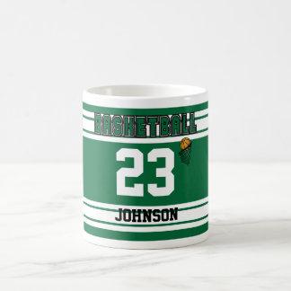 Dark Green and White Basketball Jersey Coffee Mug