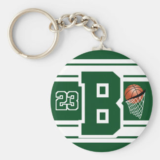 Dark Green and White Basketball Letter and Number Keychain