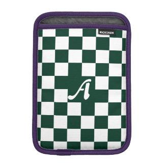 Dark Green and White Checkered Monogram iPad Mini Sleeve