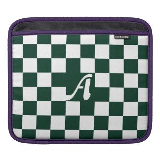 Dark Green and White Checkered Monogram iPad Sleeve