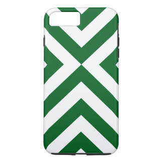 Dark Green and White Chevrons iPhone 7 Plus Case