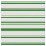 [ Thumbnail: Dark Green and White Colored Stripes Pattern Fabric ]