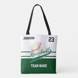 Dark Green and White for a Baseball Team Tote Bag