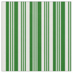 [ Thumbnail: Dark Green and White Lined Pattern Fabric ]