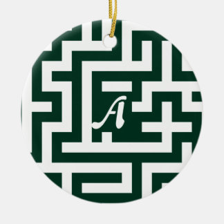 Dark Green and White Maze Monogram Double-Sided Ceramic Round Christmas Ornament