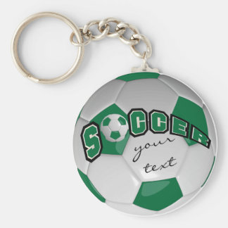 Dark Green and White Personalize Soccer Ball Basic Round Button Keychain