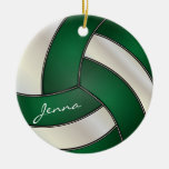 Dark Green and White Personalize Volleyball Double-Sided Ceramic Round Christmas Ornament