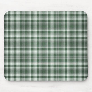 Dark Green and White Plaid Mouse Pad