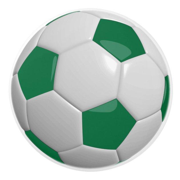 Dark Green and White Soccer Ball / Football Ceramic Knob ...