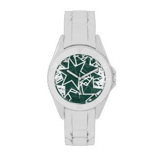 Dark Green and White Star Team Spirit Sports Color Wrist Watches