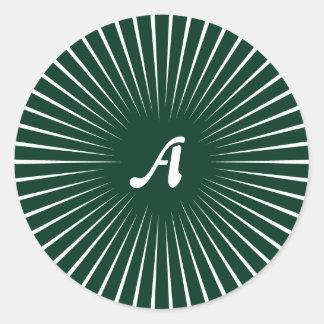 Dark Green and White Sunrays Monogram Round Sticker