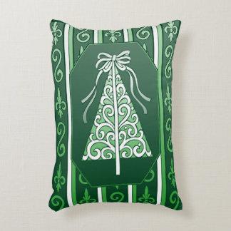 Dark Green And White Swirls Stripes Christmas Tree Decorative Pillow