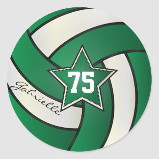 Dark Green and White Volleyball | DIY Text Classic Round Sticker