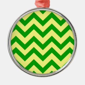 Dark Green And Yellow Chevron Metal Ornament