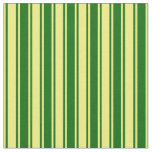 [ Thumbnail: Dark Green and Yellow Colored Pattern of Stripes Fabric ]