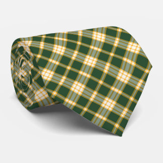 Dark Green and Yellow Gold Sporty Plaid Neck Tie