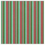 [ Thumbnail: Dark Green, Aquamarine & Brown Lines Pattern Fabric ]