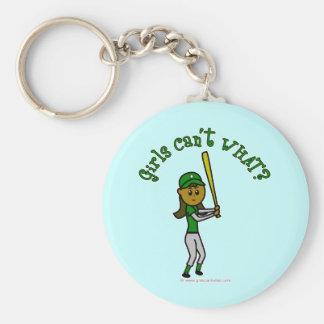 Dark Green Baseball Player Keychain