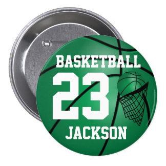 Dark Green Basketball and Hoop | DIY Text Pinback Button
