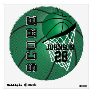 Dark Green Basketball Score Wall Decal