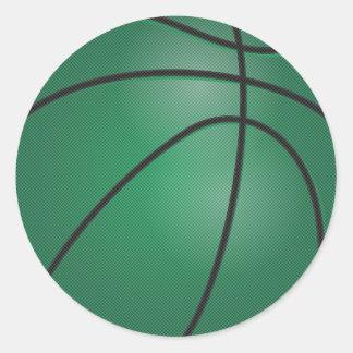 Dark Green Basketball Round Sticker