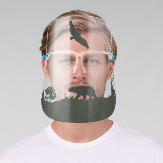 Dark Green Bear Eagle Deer Sihouette Landscape Face Shield