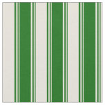 [ Thumbnail: Dark Green & Beige Colored Pattern of Stripes Fabric ]