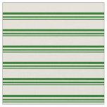 [ Thumbnail: Dark Green & Beige Stripes Fabric ]
