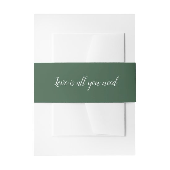 Dark Green Belly Bands Matches Eucalyptus Envy Invitation Belly Band