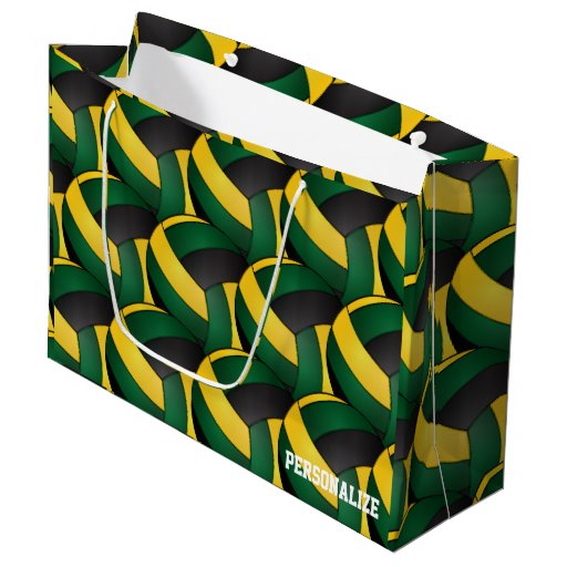 Dark Green, Black and Gold Volleyballs Large Gift Bag