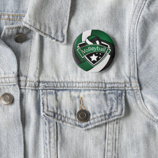Dark Green, Black and White Volleyball Pinback Button