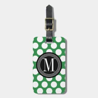 Dark Green & Black Big Polka Dots Monogrammed Luggage Tag
