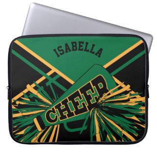 Dark Green, Black & Gold Cheerleader Design Computer Sleeve