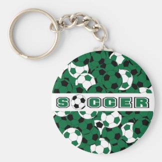 Dark Green, Black & White Soccer Ball Sport Keychain