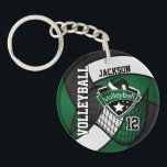 """Dark Green, Black &amp; White Volleyball Design Keychain<br><div class=""""desc"""">Volleyball Keychain. 100% Customizable. Ready to Fill in the box(es) or Click on the CUSTOMIZE button to add, move, delete or change any of the text or graphics. Made with high resolution vector and/or digital graphics for a professional print. NOTE: (THIS IS A PRINT. All zazzle product designs are &quot;prints&quot;...</div>"""