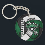 "Dark Green, Black &amp; White Volleyball Design Keychain<br><div class=""desc"">Volleyball Keychain. 100% Customizable. Ready to Fill in the box(es) or Click on the CUSTOMIZE button to add, move, delete or change any of the text or graphics. Made with high resolution vector and/or digital graphics for a professional print. NOTE: (THIS IS A PRINT. All zazzle product designs are &quot;prints&quot;...</div>"