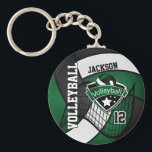 """Dark Green, Black &amp; White Volleyball Design Keychain<br><div class=""""desc"""">Dark Green, Black &amp; White Volleyball Design keychain with DIY text. 100% Customizable. If you need further customization, please click the &quot;Customize it&quot; button and use our design tool to resize, rotate, change colors, add text and more. Made with high resolution vector and/or digital graphics for a professional print. NOTE:...</div>"""