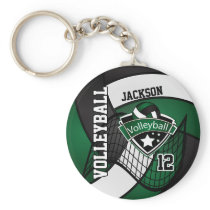Dark Green, Black & White Volleyball Design Keychain