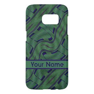 Dark Green Blue Abstract Shapes Pattern Samsung Galaxy S7 Case